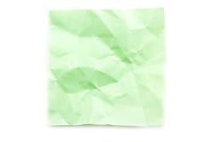 Grüne Haftnotiz geknittert Lizenzfreies Stockbild