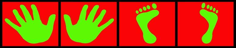 Grüne Hände und Füße Stockfotografie