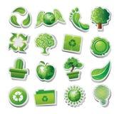 Grüne ökologische Ikonen Lizenzfreies Stockfoto