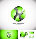 Grüne Logo-Designikone des Bereichs 3d Lizenzfreie Stockbilder