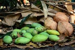 grüne Mangos mit Kokosnüssen auf trockenen Blättern Lizenzfreie Stockbilder