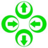 Grüne Pfeile ziehen sich vorwärts oben unten zurück Lizenzfreie Stockfotografie