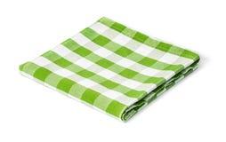 Grüne Picknicktischdecke lokalisiert Stockbild