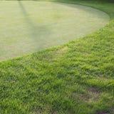 Grüne Rasenfläche des Golfplatzes Stockbilder