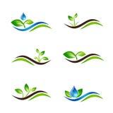 Grüne Sprösslings-Landschaftsikone oder -Logo Design Set Lizenzfreie Stockfotografie
