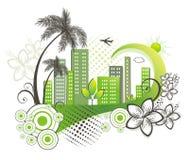 Grüne Stadt mit Palme. Stockfotos