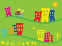 Grüne Stadt unter Verwendung der alternativen Energie Lizenzfreie Stockfotografie