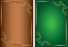 Grüne und braune Hintergründe mit goldenen Dekorationen Stockbild