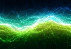 Grüne und cyan-blaue elektrische Beleuchtung Stockfotografie