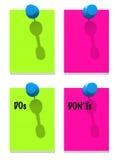 Grüne und rosafarbene Anmerkungen mit Stiften Stockfotos