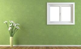 Grüne Wand mit einem Fenster Stockbilder