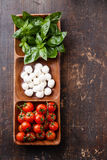 Grüner Basilikum, weißer Mozzarella, rote Tomaten Stockfoto