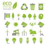 Grüner Energie- und Ökologieikonensatz Auch im corel abgehobenen Betrag Lizenzfreie Stockbilder