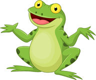 Grüner Frosch der lustigen Karikatur Stockbilder
