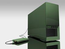 Grüner Kontrollturm des Computers 3d Lizenzfreie Stockfotos