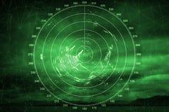 Grüner Navigationsanlageschirm mit Radarbild Stockfotos