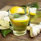 Grüner Tee mit Zitrone Stockfotos