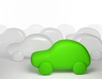 Grünes Karikaturauto - eco Transport Stockbild