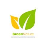 Grünes natürliches Blattlogo Stockbild