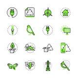Grünes Planetennatur eco Quellenergie lineart flach Lizenzfreie Stockbilder