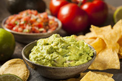 Grünes selbst gemachtes Guacamole mit Tortilla-Chips Stockbild