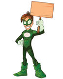 Grünes Superjungen-Held-Karikatur-Maskottchen Lizenzfreie Stockfotos