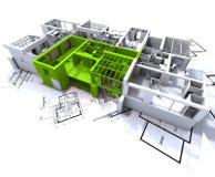 Grünes Wohnungsmodell auf Blau Stockbilder