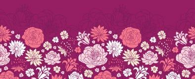Gräns för bakgrund för modell för purpurfärgade rosa färgblommakonturer horisontalsömlös Arkivfoton