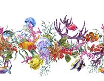 Gräns för liv för hav för sommartappningvattenfärg sömlös Royaltyfri Bild