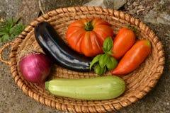 Grönsaker i korg Fotografering för Bildbyråer