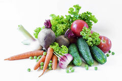 Grönsaker som isoleras på en vitbakgrund Royaltyfria Bilder
