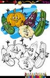 Grönsakgrupptecknad film för färgläggningbok Royaltyfri Fotografi