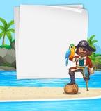 Gränsdesignen med piratkopierar på stranden Royaltyfri Bild