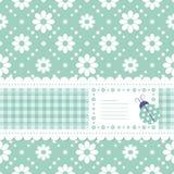 Grönt blommigt hälsningkort Royaltyfria Bilder