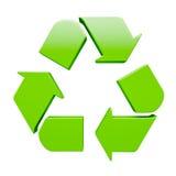 Grönt återvinningsymbol som isoleras på vit Arkivfoto