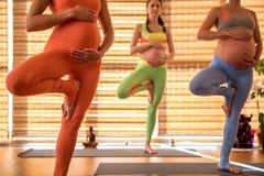 Groß mit den Kinderfrauen, die Übung tun lizenzfreies stockbild