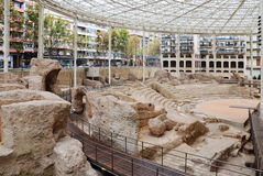 Großartige Überreste des römischen Amphitheaters in Saragossa Lizenzfreie Stockfotos