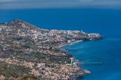 Großartige Ansicht von Klippe Cabo Girao auf Funchal bei Sonnenuntergang, Madeira, Portugal lizenzfreie stockfotografie