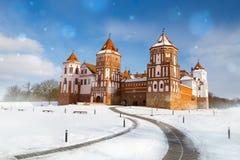Großartige Ansicht zum Schloss von MIR, Minsk-Region, Weißrussland stockbild