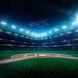 Großartige Arena des professionellen Baseballs in der Nacht stockfoto