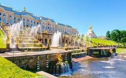 Großartige Kaskade in Perterhof-Palast, St Petersburg Lizenzfreie Stockfotos