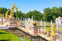 Großartige Kaskade in Perterhof-Palast, St Petersburg Stockfoto