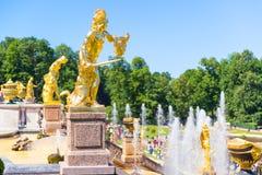 Großartige Kaskade in Perterhof-Palast, St Petersburg Lizenzfreie Stockfotografie