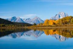 Großartige tetons plätscherten Reflexionen Lizenzfreie Stockfotografie