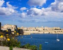 Großartiger Hafen und Valletta Lizenzfreie Stockfotos