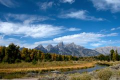 Großartiger Nationalpark Teton und der Snake River lizenzfreies stockfoto