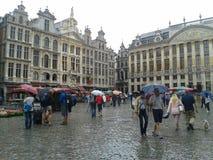 Großartiger regnender Platz, Brüssel stockbilder