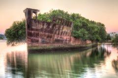 Großartiger Schiffbruch an der Dämmerung in Sydney stockbild