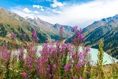 Großartiger szenischer großer Almaty See, Tien Shan Mountains in Almaty, Kasachstan, Asien Stockfoto