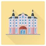 Großartiges Hotel, das flache Designvektorillustration errichtet Stockbild
